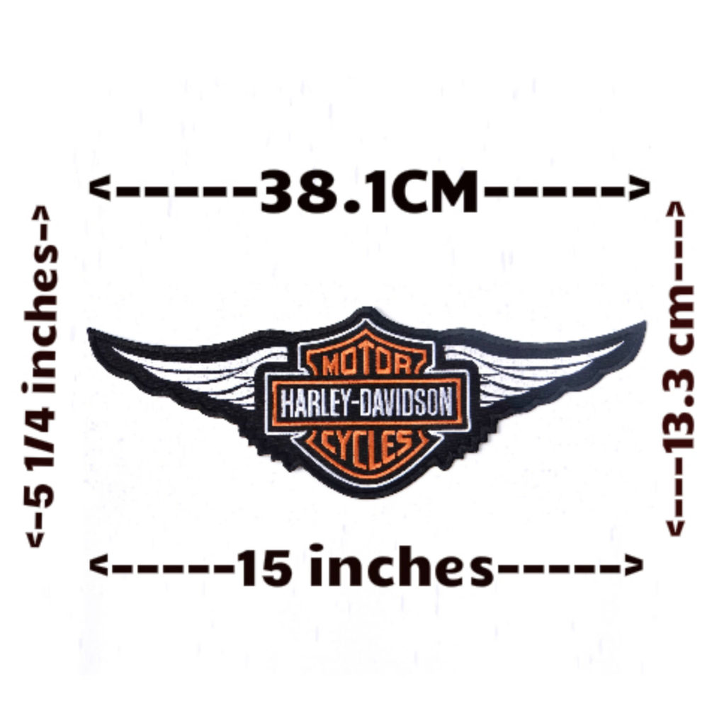 Harley Davidson Orange Logo with Wings Sew-on Patch (2XL